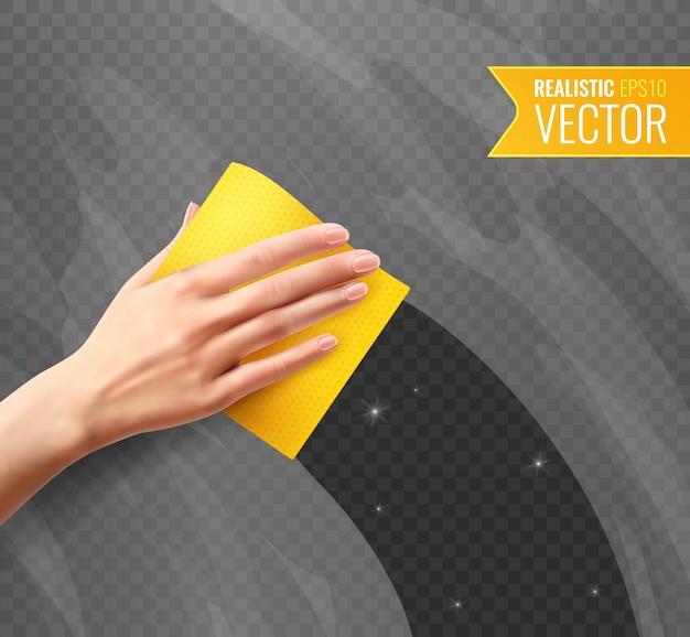 Mano de mujer limpiando vidrio sucio con servilleta amarilla transparente en estilo realista