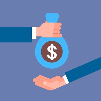 La mano del negocio que da el bolso del dinero al concepto del pago del sueldo, del crédito o del préstamo del hombre de negocios
