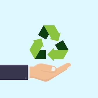La mano del negocio sostiene el reciclaje del ejemplo del vector del icono