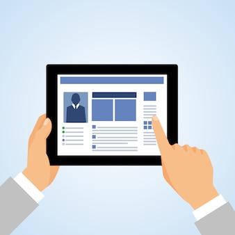 Mano de negocios sosteniendo y usando la computadora de la tableta y tocando la ilustración de vector de concepto de pantalla