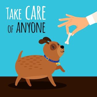 Mano ofrece hueso de perro. tenga cuidado con la ilustración vectorial de dibujos animados con lindo cachorro y sabroso hueso