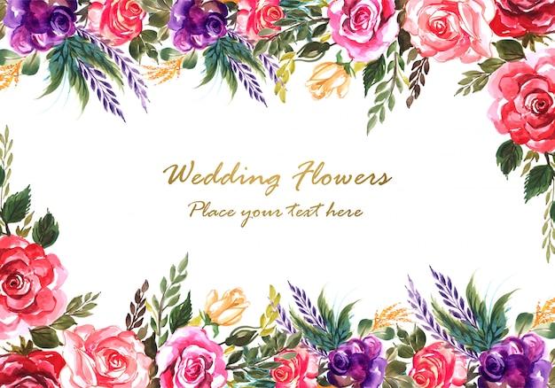 Mano ornamental dibujar plantilla de tarjeta de flores de boda colorida