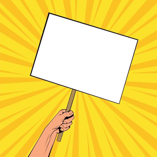 De la mano con la pancarta en blanco sobre palo de madera. ilustración de vector colorido en estilo cómic retro pop art