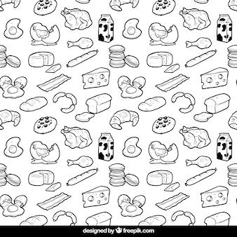 Mano patrón dibujado alimentos