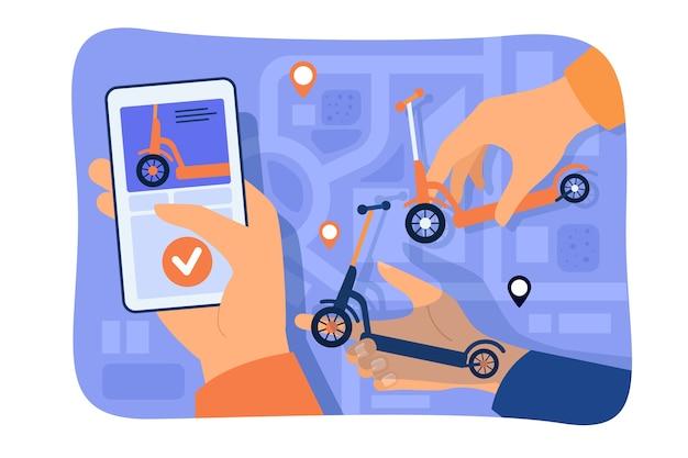 Mano de la persona que usa la aplicación para compartir o alquilar scooter con el mapa de la ciudad en el teléfono inteligente. ilustración de vector de vehículo urbano, transporte urbano, concepto de comunicación