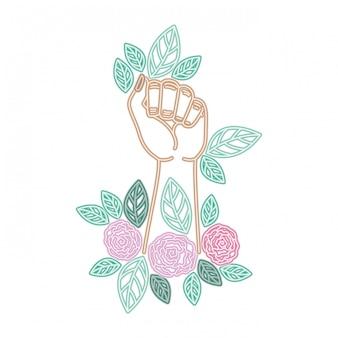 Mano con personaje de avatar de flor.