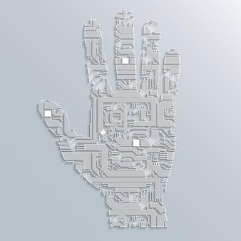 Mano de la placa de circuito