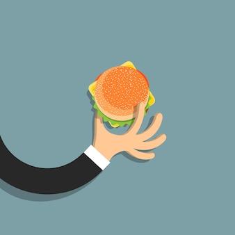 Mano plana con hamburguesa en estilo de dibujos animados