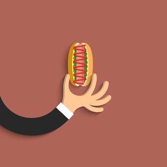 Mano plana con hot dog en estilo de dibujos animados