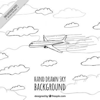 Mano plano elaborado por fondo de vuelo