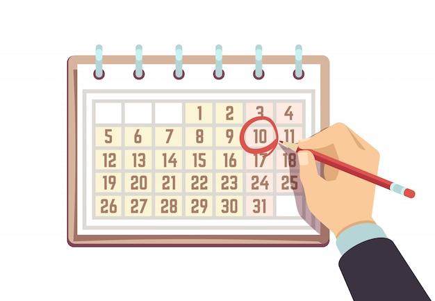 Mano con pluma marca fecha en calendario. concepto de vector de fecha límite y eventos importantes