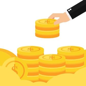 Mano, poner, moneda, a, dinero, escalera