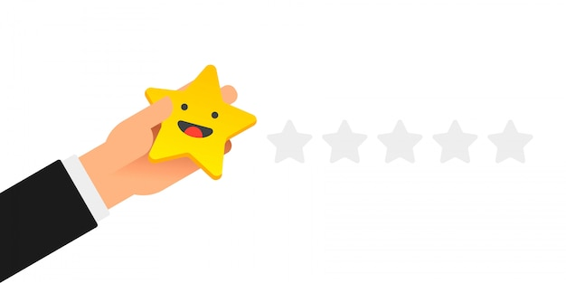 Mano poniendo cinco estrellas doradas con cara de sonrisa en blanco
