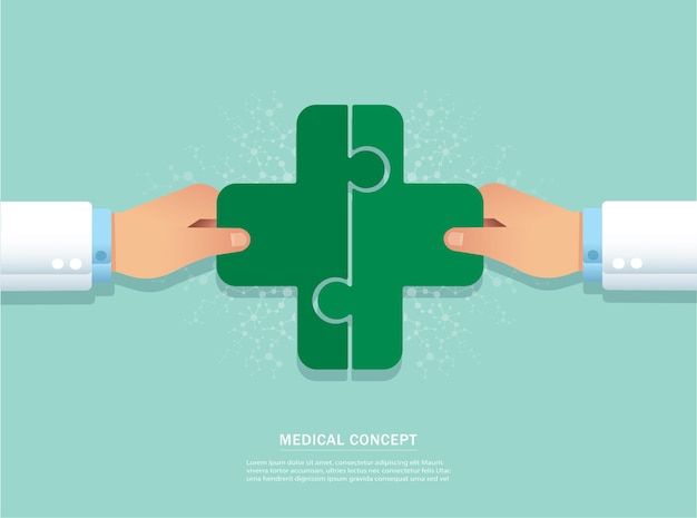 Mano poniendo el icono de puzzle madical juntos