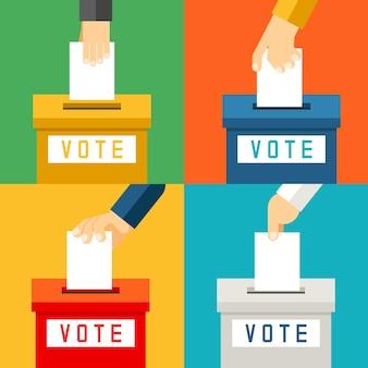 Mano poniendo papel de votación en urnas. encuesta de referéndum y votante de elección