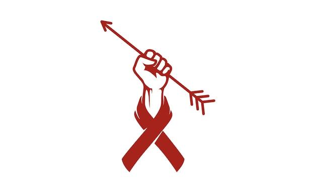 Mano de puño, flecha y cinta para el diseño de logotipo de caridad
