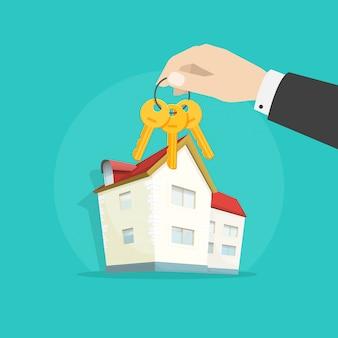 Mano que da las llaves de la propiedad forman la casa como ilustración de regalo de dibujos animados plana