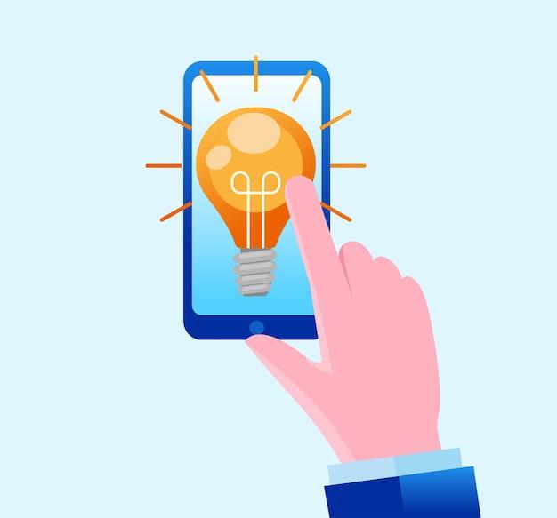 Mano que muestra la idea de la bombilla desde el teléfono inteligente idea de negocio página de destino ilustración del sitio web vect plano