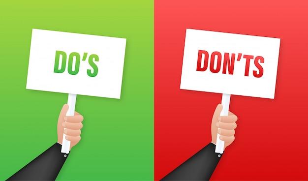 Mano que sostiene el cartel de hacer y no hacer. ilustración.