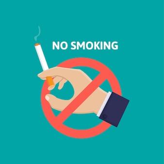 Mano que sostiene el cigarrillo y la señal de pare, deje de fumar ilustración de diseño plano