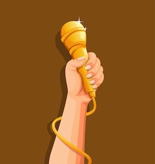 Mano que sostiene el concepto de símbolo musical de cantante de micrófono dorado en la ilustración de dibujos animados