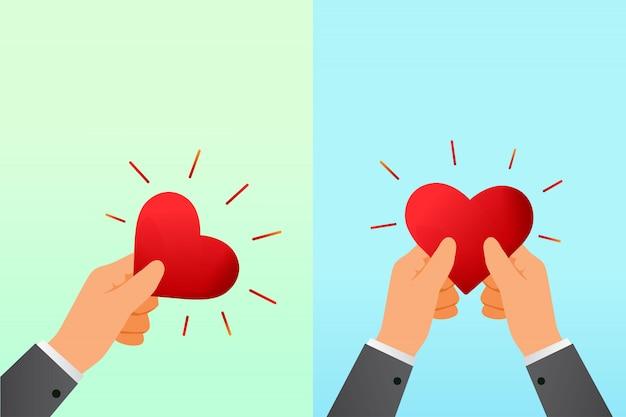Mano que sostiene el corazón rojo. ilustración de caridad