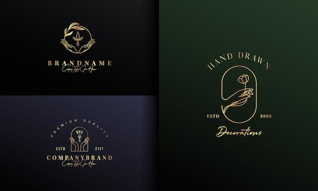 Mano que sostiene el diseño de logotipo botánico de la naturaleza