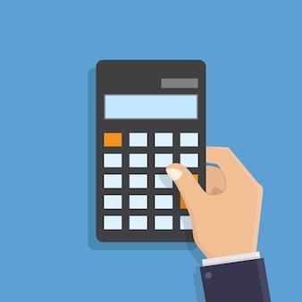 Mano que sostiene el ejemplo plano del vector del diseño de la calculadora