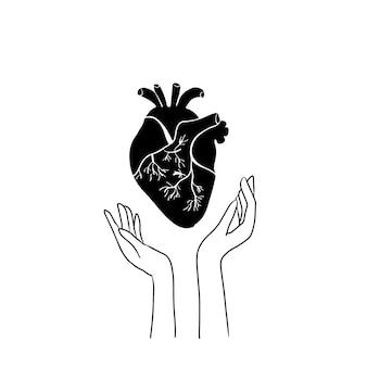 Mano que sostiene la ilustración de estilo de linograbado en blanco y negro de corazón