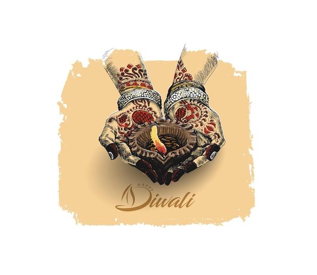 Mano que sostiene la lámpara de aceite india - diya, festival de diwali, ilustración de vector de boceto dibujado a mano.