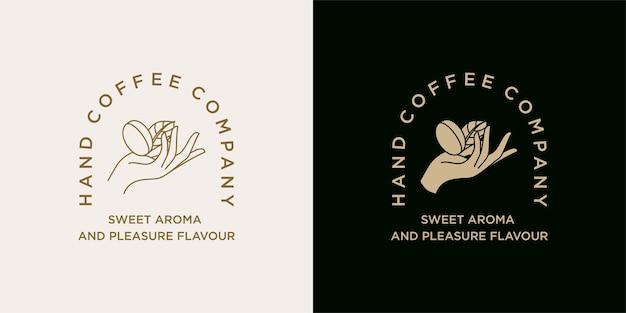 Mano que sostiene la plantilla de ilustración del logotipo de grano de café para la marca de bebidas de cafetería coffee shop