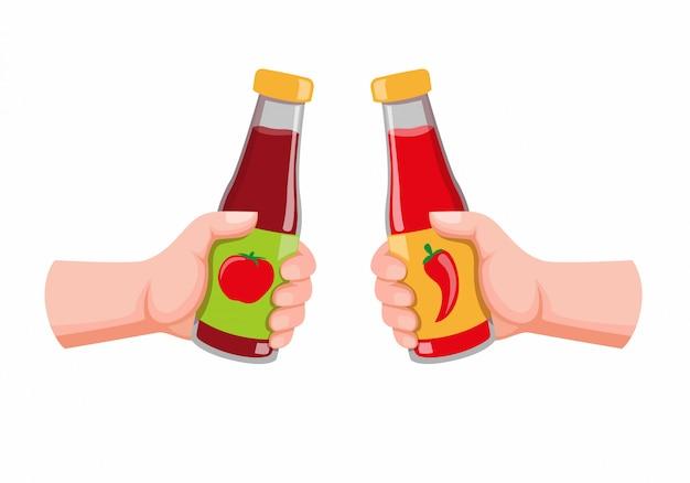 Mano que sostiene la salsa de tomate y la botella de chile, el símbolo de tomate y salsa picante para alimentos en la ilustración plana de dibujos animados aislado en fondo blanco