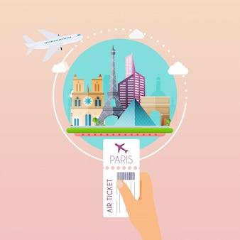 Mano que sostiene la tarjeta de embarque en el aeropuerto a parís. viajando en avión, planeando unas vacaciones de verano, turismo y objetos de viaje y equipaje de pasajeros. concepto de ilustración moderna