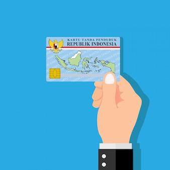 Mano que sostiene la tarjeta de identificación. ilustración de vector de diseño plano.