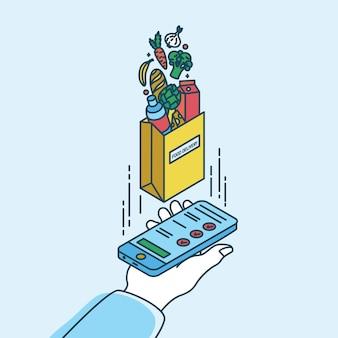 Mano que sostiene el teléfono inteligente y bolsa de papel con productos. concepto de servicio de entrega de alimentos o aplicación móvil para tienda de comestibles en línea o tienda. ilustración colorida en estilo moderno del arte de línea.