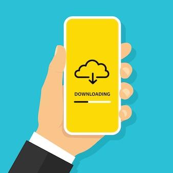 Mano que sostiene el teléfono inteligente con el botón de descarga de archivos desde la nube en la pantalla concepto de proceso de carga