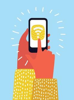 Mano que sostiene el teléfono inteligente con conexión wifi en la pantalla sobre borrosa en el fondo del centro comercial