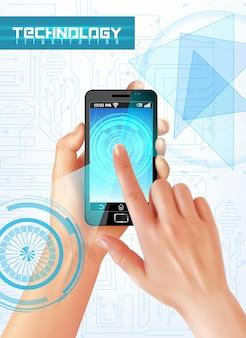 Mano que sostiene el teléfono inteligente con el dedo en la pantalla táctil realista vista superior imagen abstracta de alta tecnología
