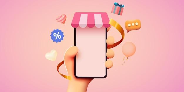 Mano que sostiene el teléfono inteligente móvil con el concepto de compras en línea de la aplicación shopp