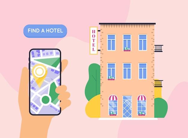 Mano que sostiene el teléfono inteligente móvil con hotel de búsqueda de aplicaciones. encontrar hotel en el mapa de la ciudad.