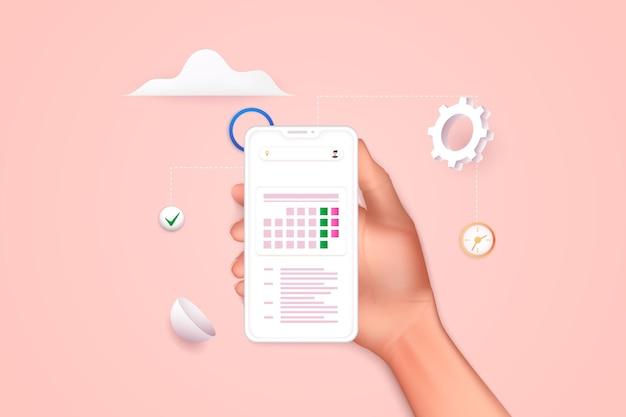Mano que sostiene el teléfono inteligente móvil con plan de calendario. diseño de gráficos de información creativa plana moderna de vector en la aplicación. ilustraciones vectoriales 3d.