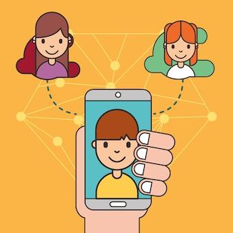 Mano que sostiene el teléfono inteligente con niño en la pantalla