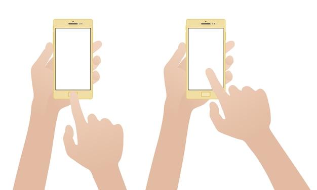 Mano que sostiene el teléfono inteligente de oro, tocando la pantalla en blanco en blanco