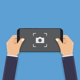 Mano que sostiene el teléfono inteligente, tomar fotos, ilustración