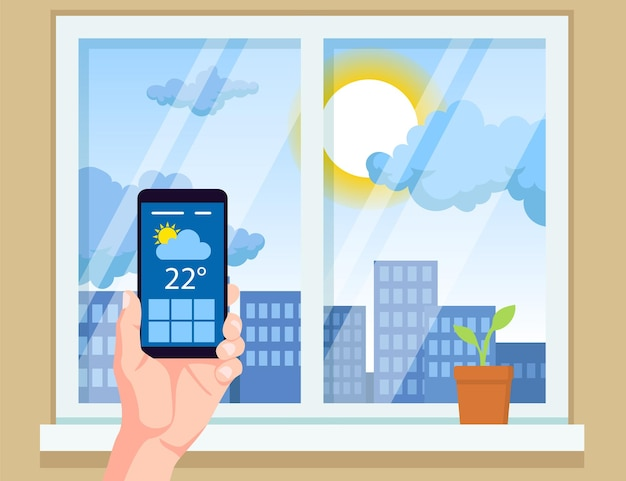 Mano que sostiene el teléfono móvil con la ilustración de vector de aplicación meteorológica