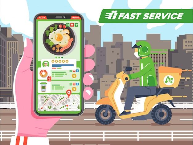 Mano que sostiene el teléfono que controla el envío de pedidos de alimentos por mensajería, la ruta en el mapa llegó a la ilustración de destino