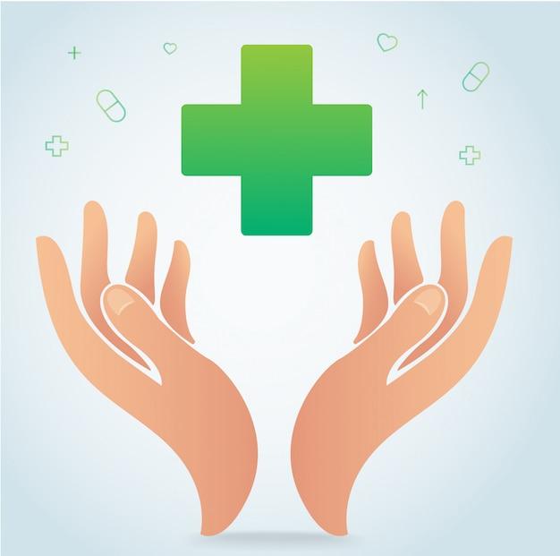 Mano que sostiene el vector de símbolo de icono de hospital médico
