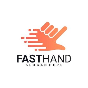 Mano rápida de logotipo creativo, diseños de logotipos de cursor rápido