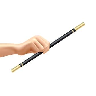 Mano realista que sostiene la varita mágica negra y de oro en el ejemplo blanco del vector del fondo