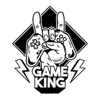 Mano del rey del juego que mantiene el gamepad moderno, el joystick, el controlador del juego para jugar videojuegos y mostrar el letrero de rock.